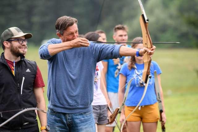 Vseslovenski tabor voditeljev skavtov. Predsednik republike Borut Pahor1
