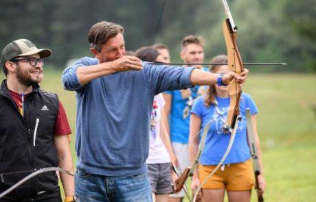 Borut Pahor je danes obiskal vseslovenski tabor voditeljev skavtov v Želodniku pri Domžalah