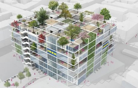 Ikea na Dunaju z veliko prosto dostopno teraso, hotel s 345 posteljami in park s 160 drevesi