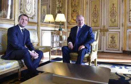Macron poziva Netanjahuja, naj pogumno pristopi k Palestincem