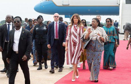 Melanio Trump v Malaviju pričakali protestniki