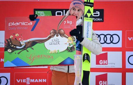 Karl Geiger zmagovalec zadnje tekme sezone v Planici, Domen Prevc četrti