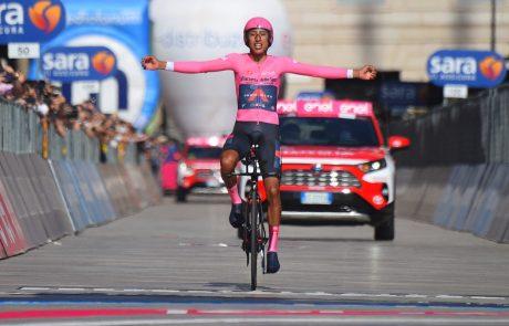 Kolumbijec Egan Bernal je zmagovalec kolesarske dirke po Italiji