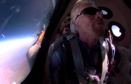 Britanski milijarder Branson poletel v vesolje in s tem podvigom za devet dni prehitel Jeffa Bezosa